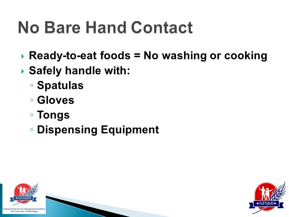 No Bare Hand Contact With Ready To Eat Foods