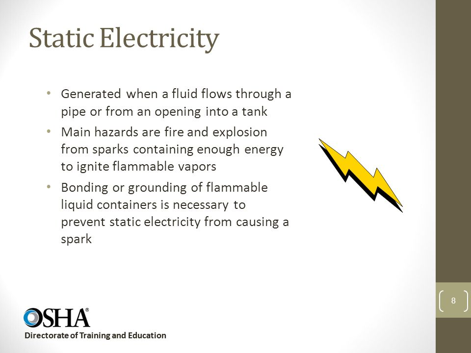 Static Electricity Generated when a fluid flows through a pipe or from an opening into a tank.