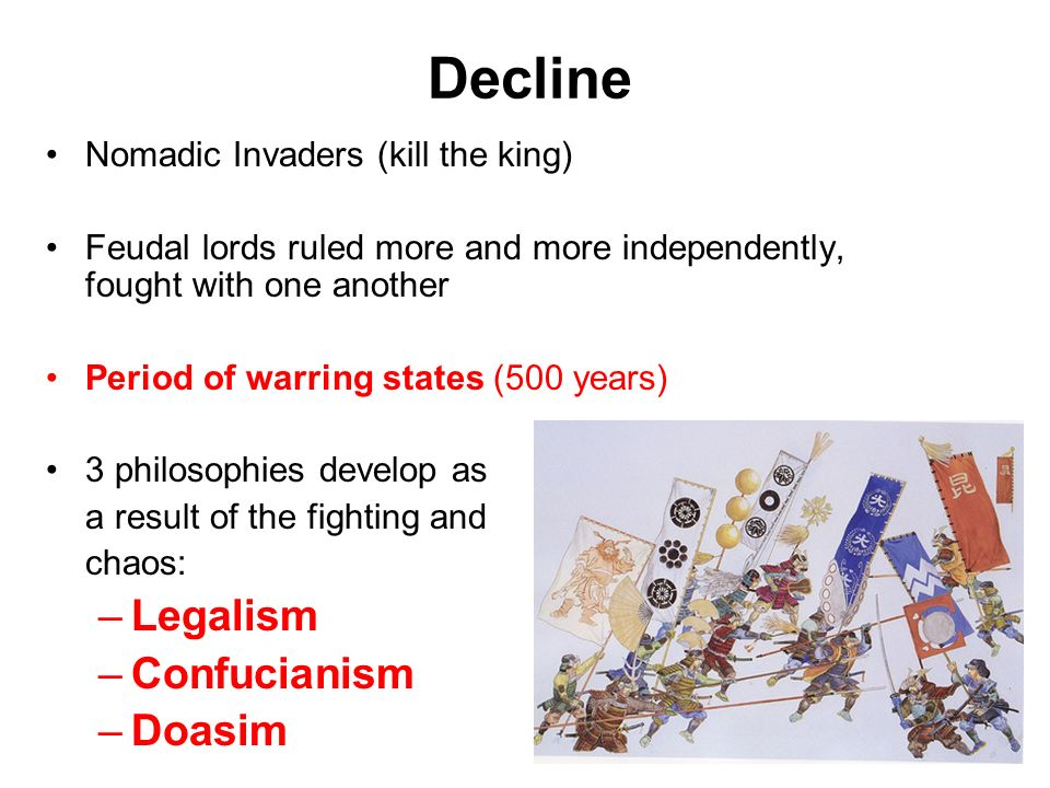 legalism during the chaotic era On one hand, legalism is a militaristic doctrine based on pragmatism  fall of  the qing dynasty in 1911, the chaos created by the warlords era,.