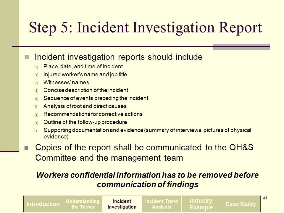 health and safety investigation report