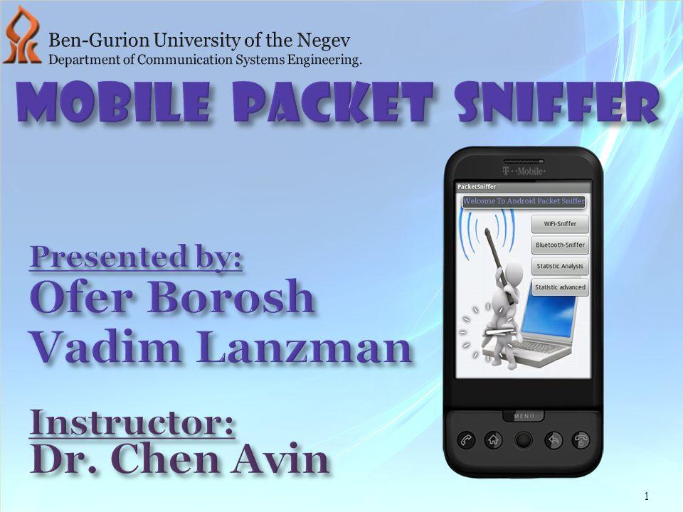 Mobile Packet Sniffer Ofer Borosh Vadim Lanzman Dr  Chen Avin