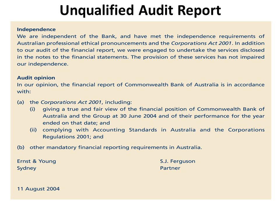 The Independent Report Dating Of Auditors cannot