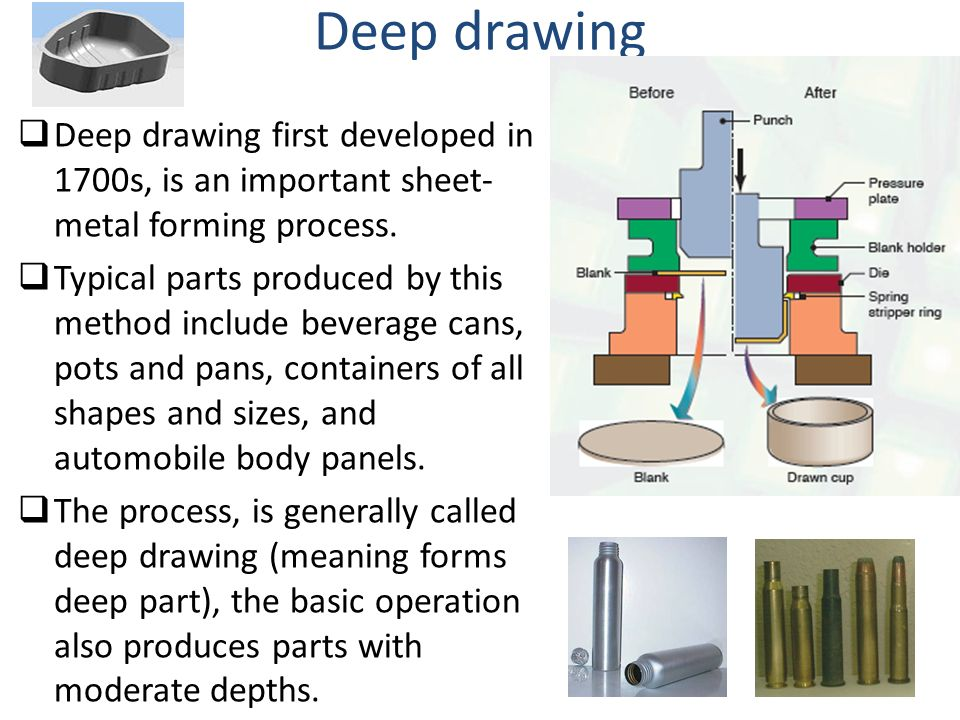 Deep drawing Deep drawing first developed in 1700s, is an important sheet-metal forming process.