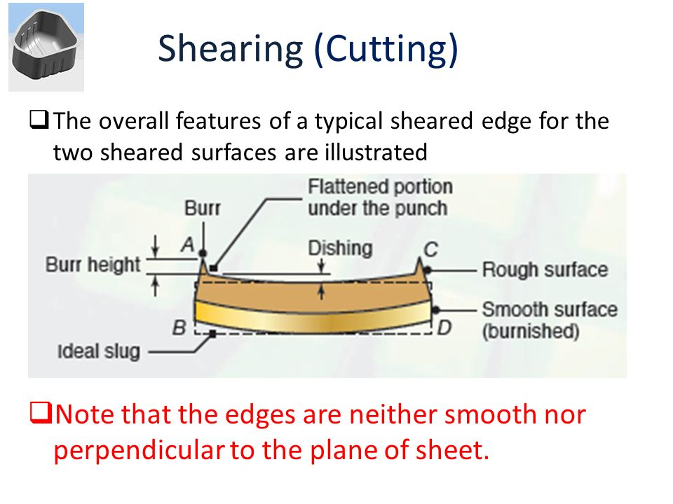 Shearing (Cutting) The overall features of a typical sheared edge for the two sheared surfaces are illustrated.