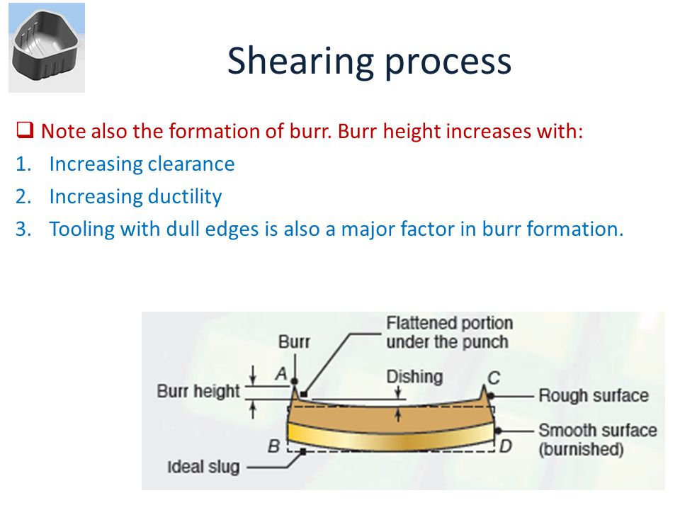 Shearing process Note also the formation of burr. Burr height increases with: Increasing clearance.