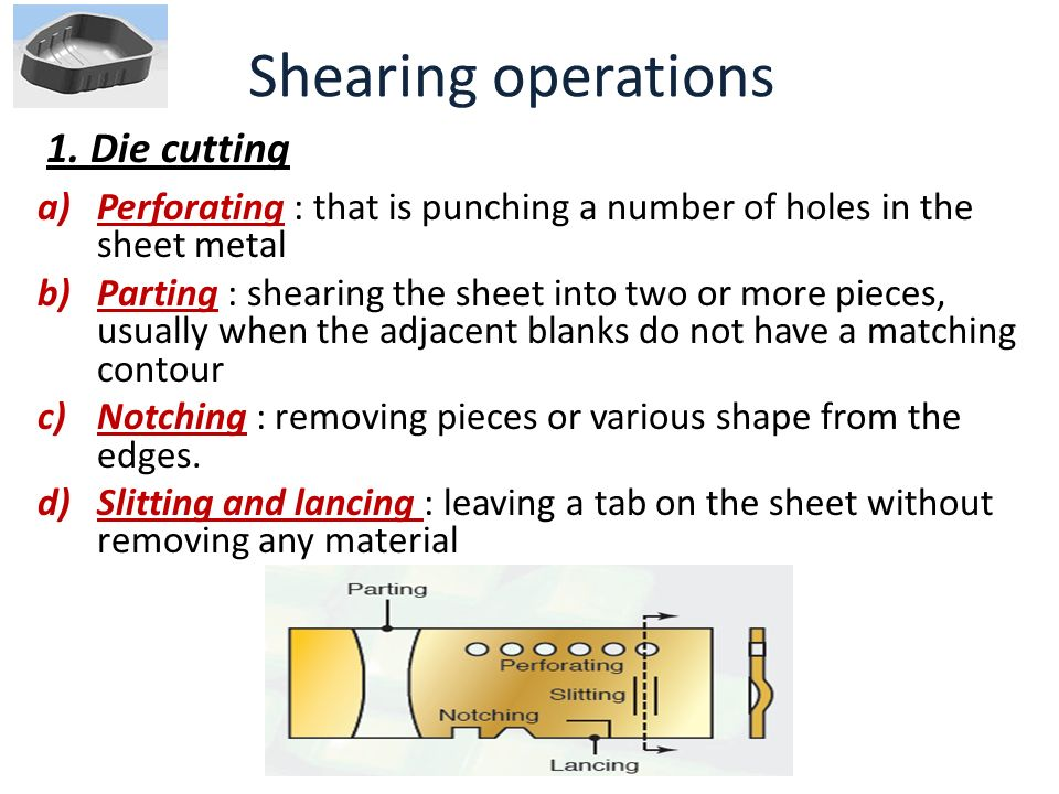Shearing operations 1. Die cutting
