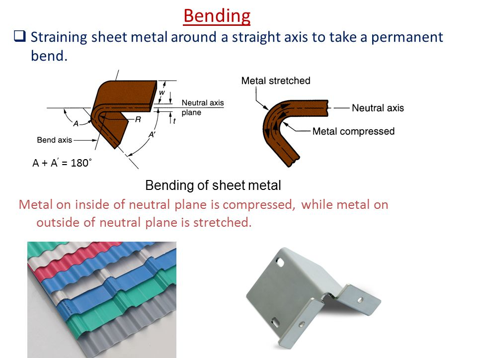 Bending Straining sheet metal around a straight axis to take a permanent bend. A + A' = 180˚ Bending of sheet metal.