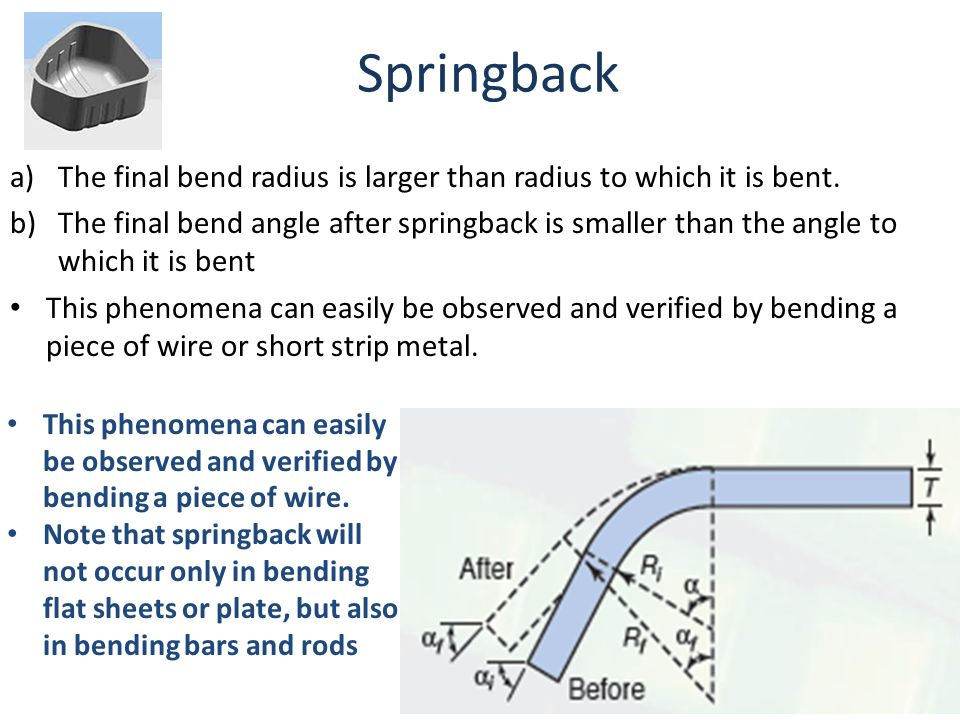 Springback The final bend radius is larger than radius to which it is bent.