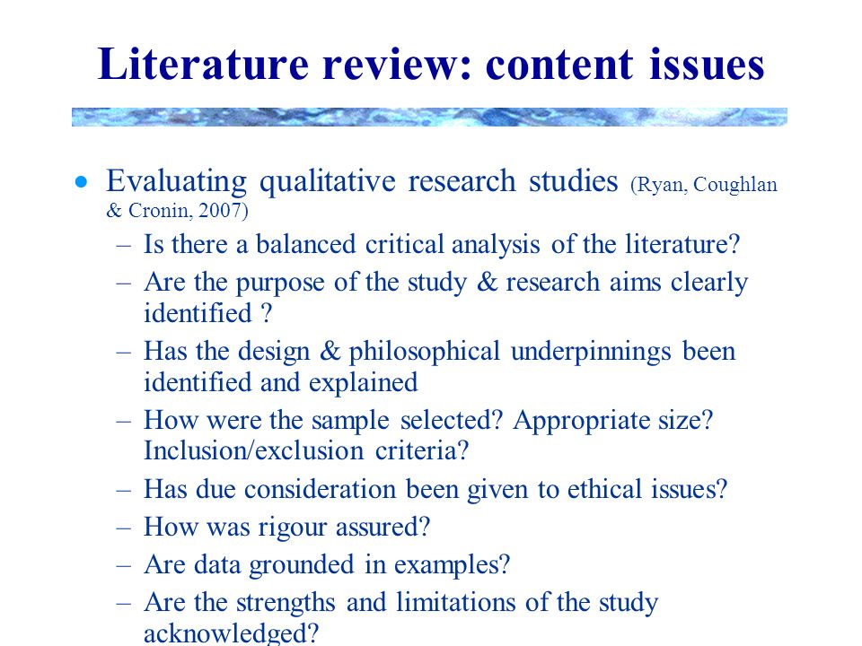 the review of literature in a qualitative research study is Step-by-step guide to critiquing research part 2: quaiitative researcii frances ryan purpose/significance ofthe study literature review theoretical framework method and philosophical underpinnings when critiquing qualitative research studies it is.