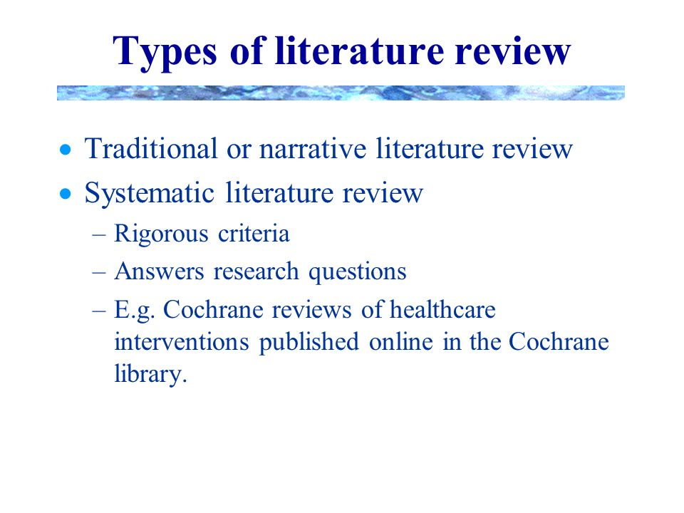 cochrane literature review criteria