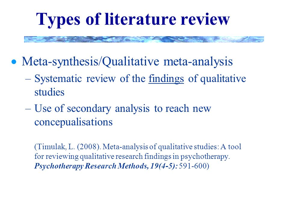 qualitative research methods literature review Methods for the synthesis of qualitative research: a critical review esrc national centre for research methods  methods we searched the literature, using a high .