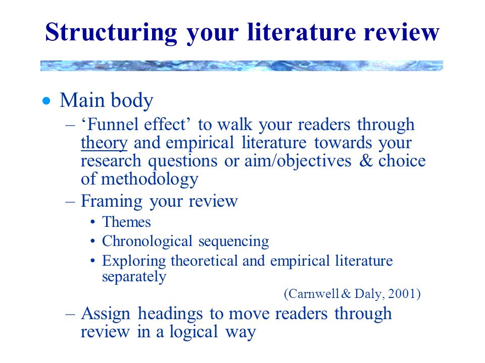 a review of the literature of