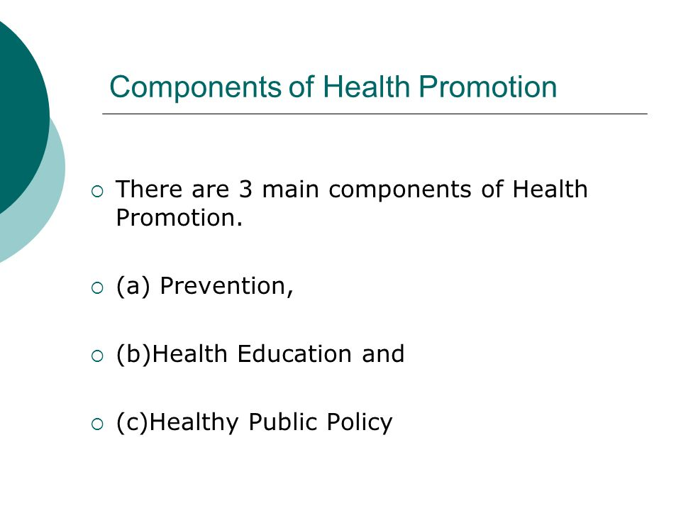 Health promotion and prevention levels