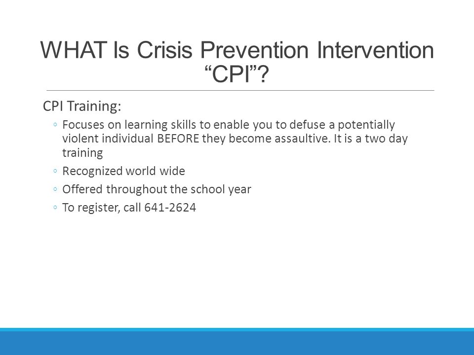 prevention and crisis intervention 2 essay Crisis intervention is an immediate and short-term psychological care aimed at  assisting  2 exploring the crisis situation of the person the next phase is to  identify major problem(s),  often school districts, for example, may use crisis  prevention holds and interventions against disabled children without first giving .
