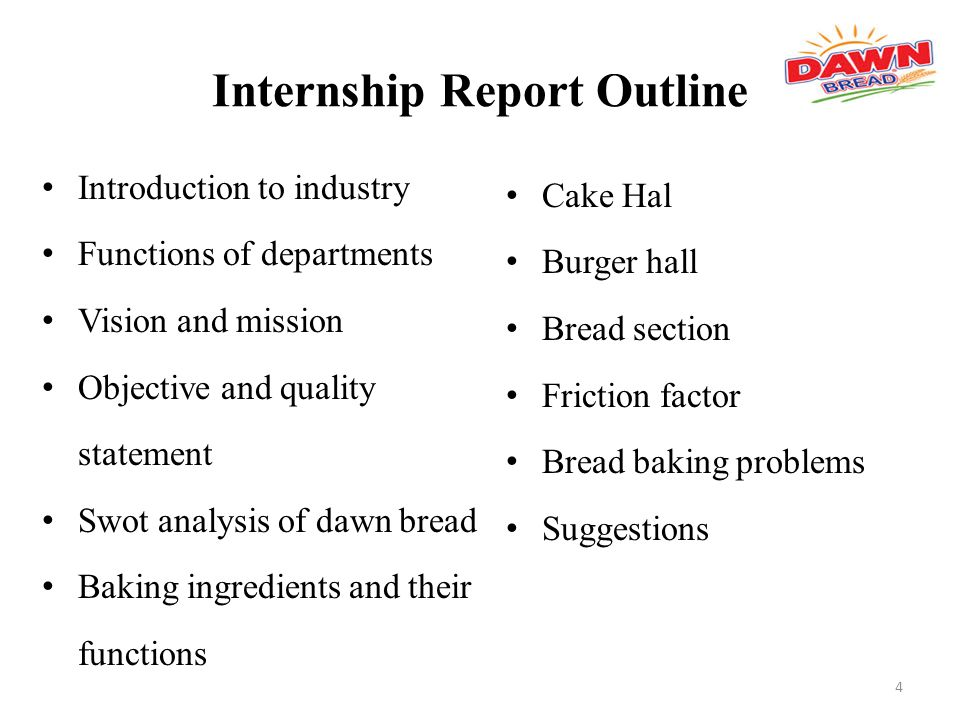 outline of accounting internship report Business administration - internship report the topical components to be covered in the internship report are specified in the following outline: internship.