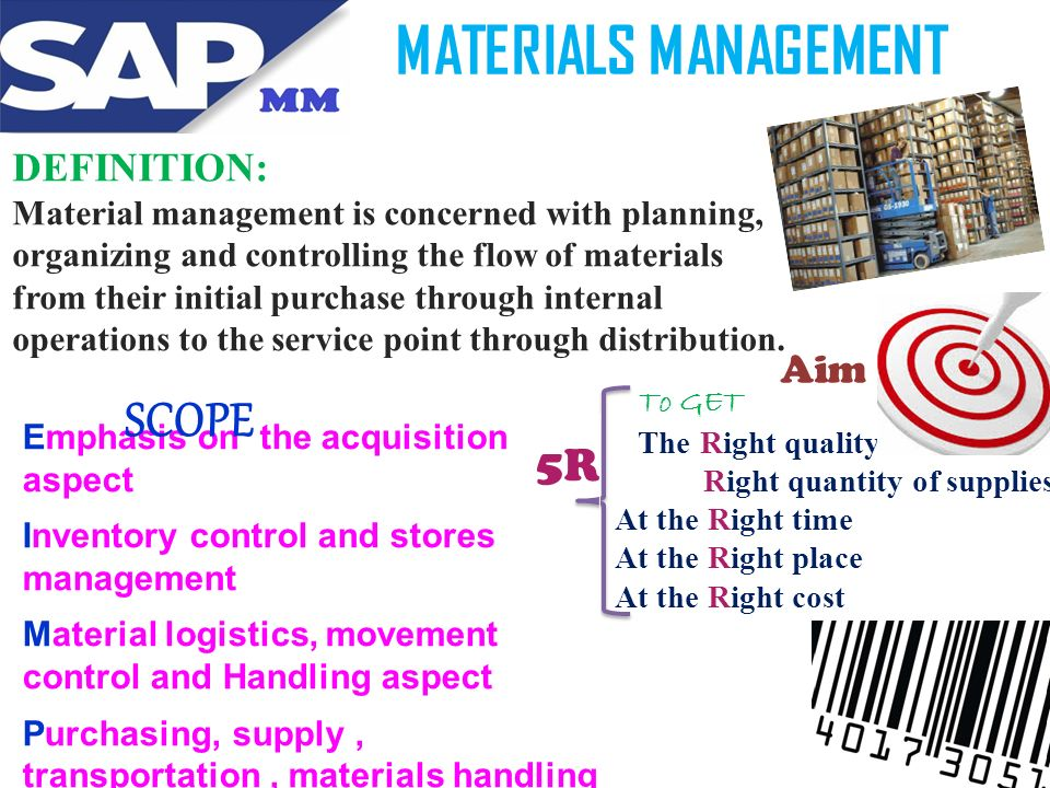 Material Management: it's Definition, Objectives and Organization