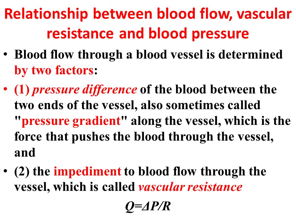 equation showing the relationship between peripheral resistance blood flow and pressure