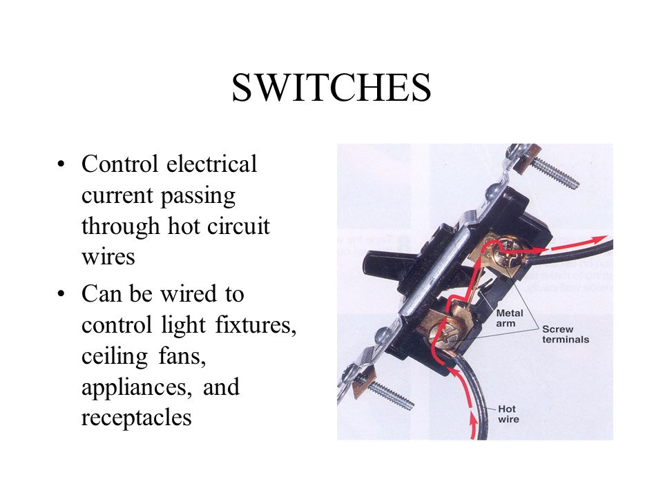 SWITCHES+Control+electrical+current+passing+through+hot+circuit+wires w c \u201cbuster\u201d hounshell spring 2002 switches ppt video online Single Pole Switch Wiring Diagram at bakdesigns.co
