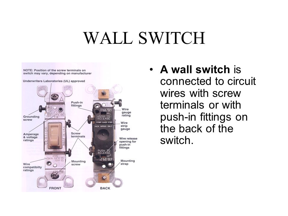 WALL+SWITCH+A+wall+switch+is+connected+to+circuit+wires+with+screw+terminals+or+with+push in+fittings+on+the+back+of+the+switch. w c \u201cbuster\u201d hounshell spring 2002 switches ppt video online Single Pole Switch Wiring Diagram at bakdesigns.co