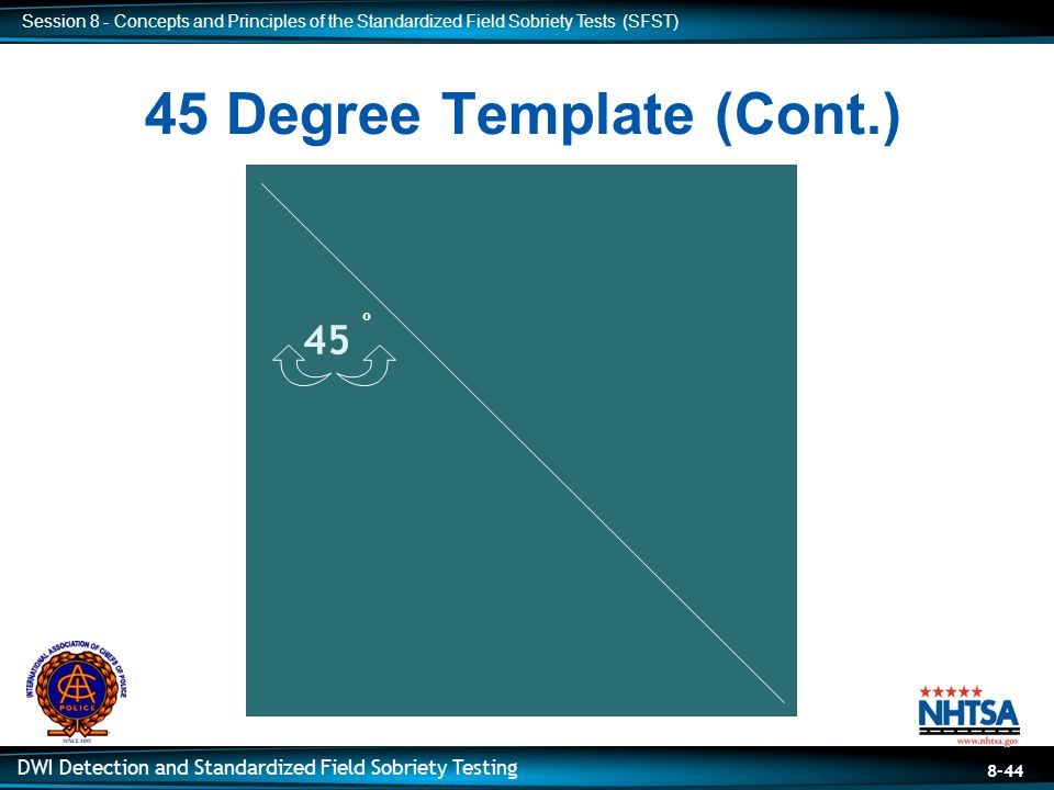 along a 45 degree angle participant practice with 45 degree template