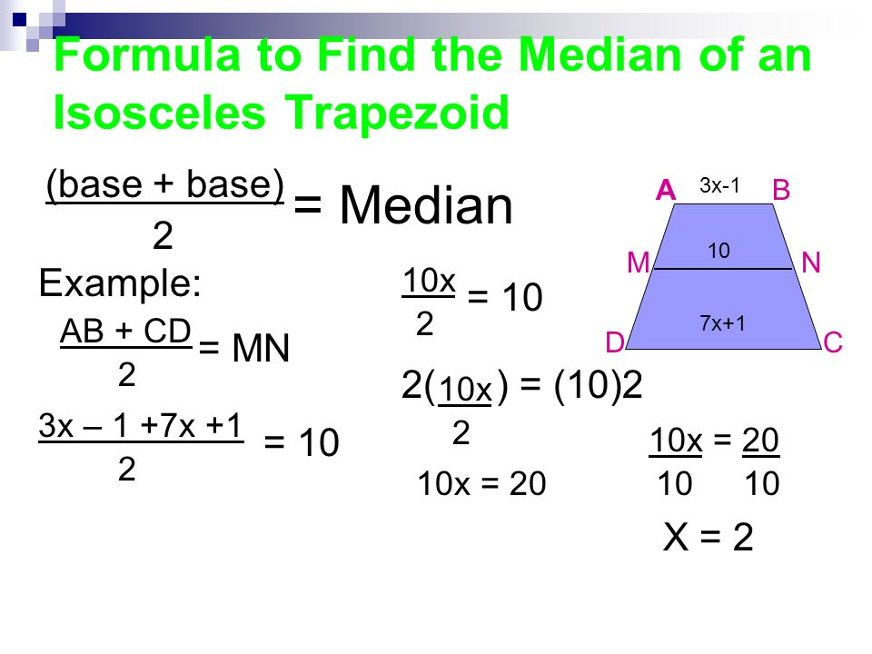 Quadrilaterals four sided polygons non examples examples ppt formula to find the median of an isosceles trapezoid ccuart Images