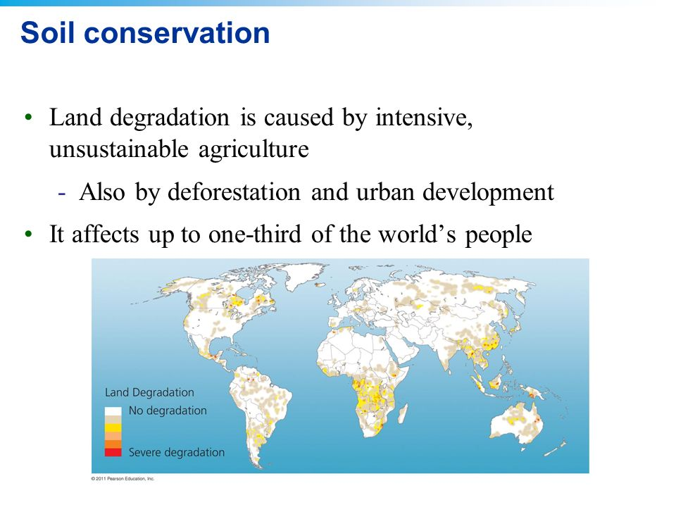 land degradation and conservation measures According to natural resources management division, department of agriculture and co-operation, ministry of agriculture, government of india, we can conserve our land resources by adopting the following measures.