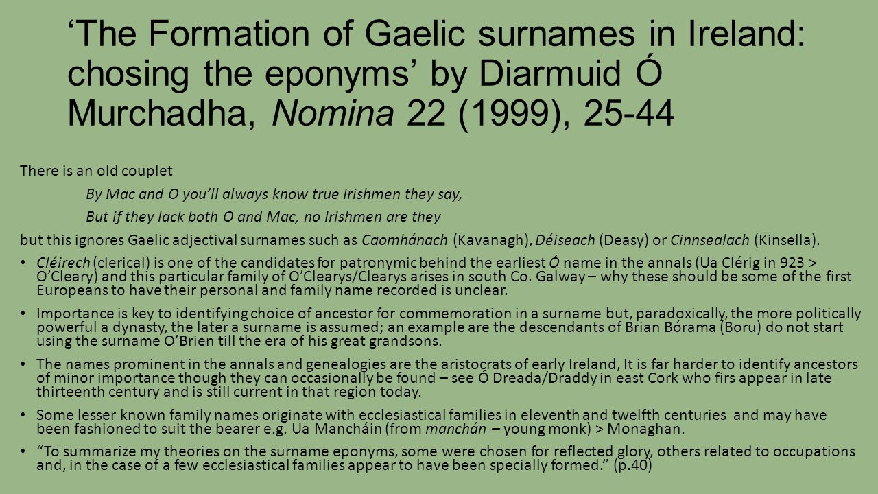The Formation Of Gaelic Surnames In Ireland Chosing Eponyms By Diarmuid O