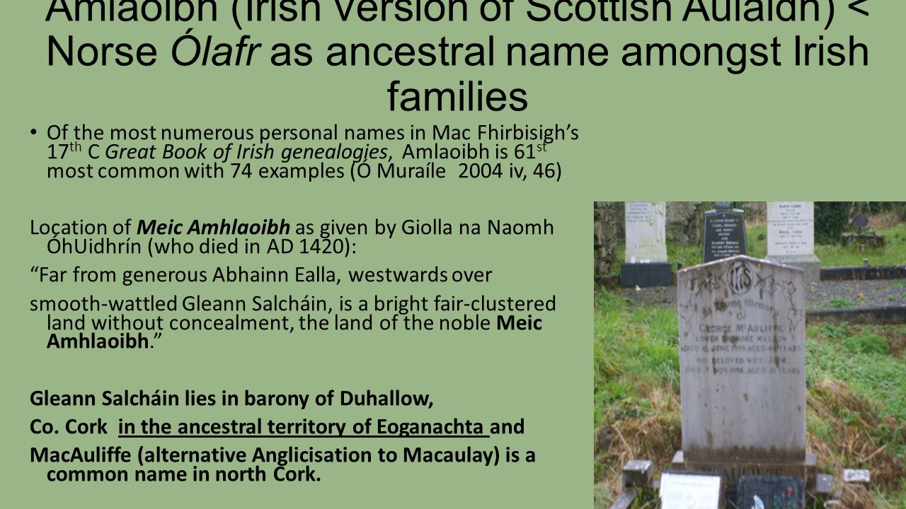 Amlaoibh Irish Version Of Scottish Aulaidh Norse Olafr As Ancestral Name Amongst
