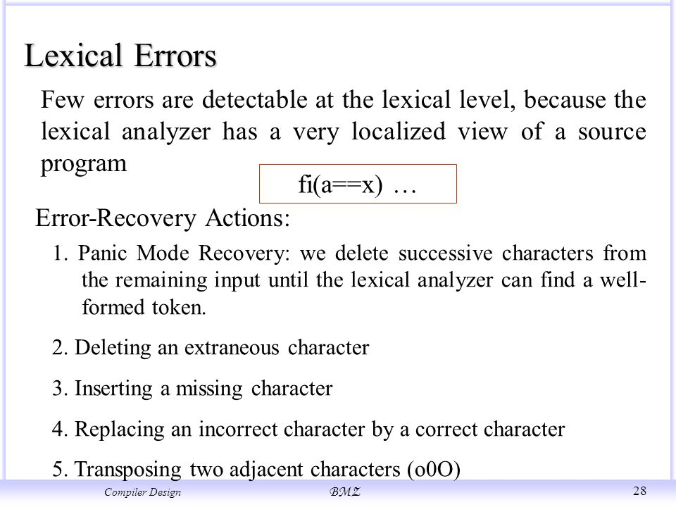 writing a compiler in c lexical analysis error