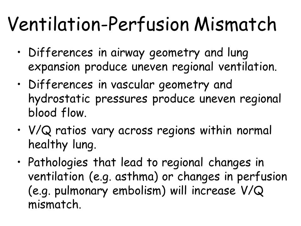 ventilation and perfusion relationship