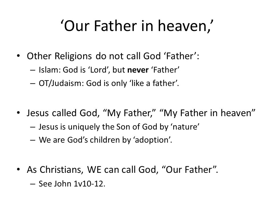 bible calling culture essay father fatherhood god The name of god used in the hebrew bible is the and genesis 46:3, ha'el elohe abika, el the god of thy father)  of the principal names of god.