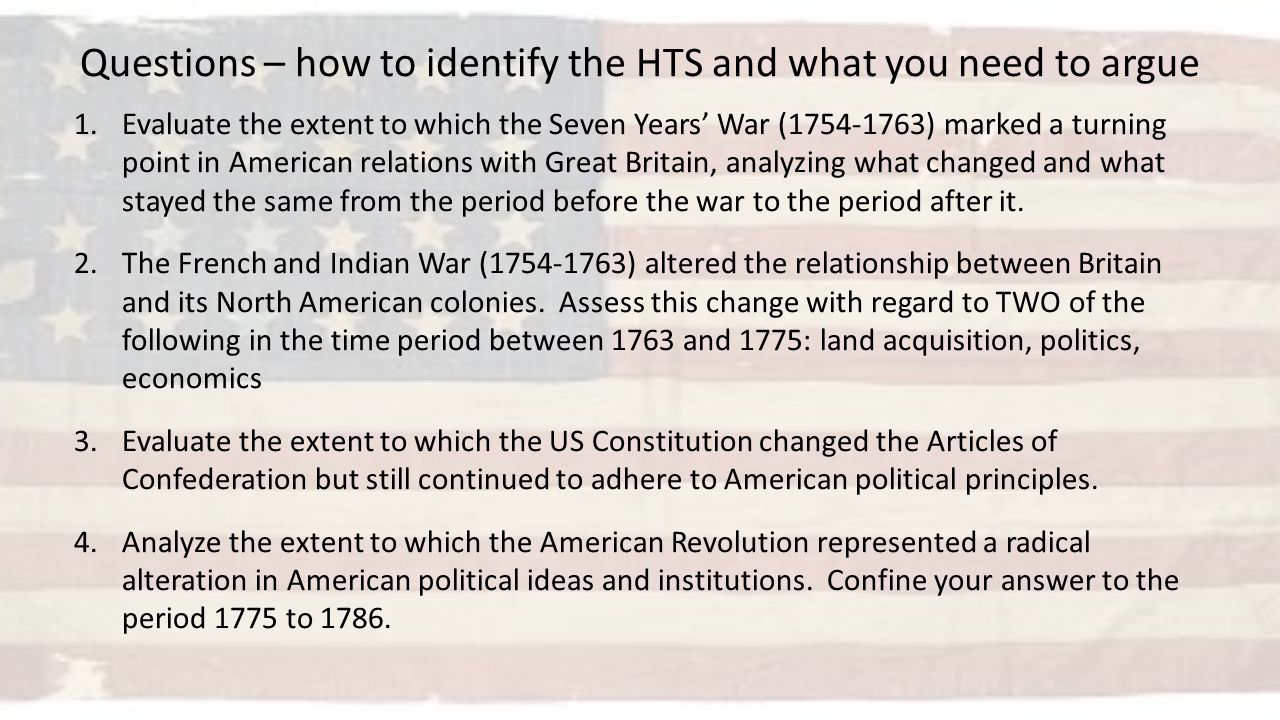 Long essay question apush seven years war
