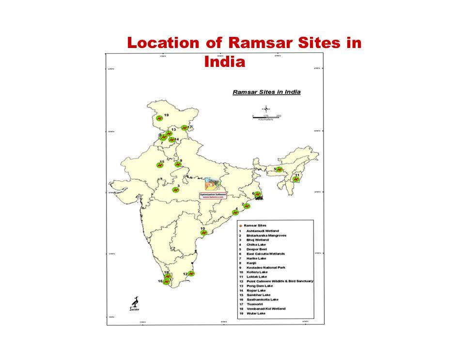 Location of Ramsar Sites in India