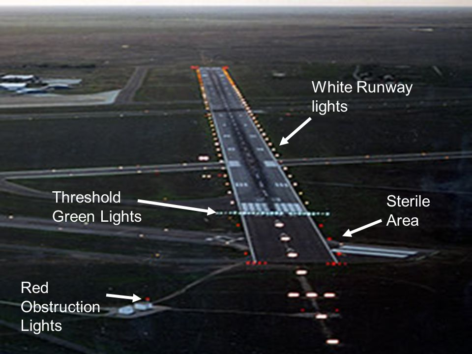 Nice 54 White Runway Lights Threshold Green Lights Sterile Area Red Obstruction  Lights