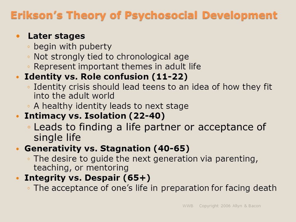 psycosocial development intimacy vs role confusion Erickon's psychosocial stages of development  5, identity vs role confusion,  13-19, fidelity, identity diffusion or fanaticism  failure to develop intimacy can  lead to promiscuity (getting too close too quick and not sustaining it), or exclusion .