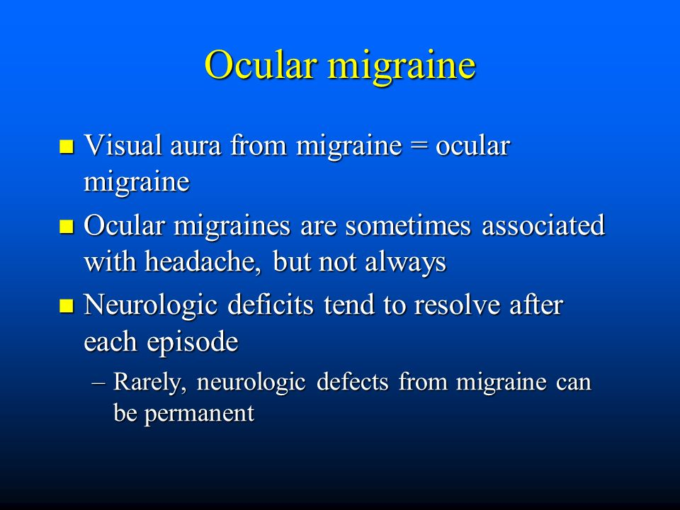 how to stop an ocular migraine