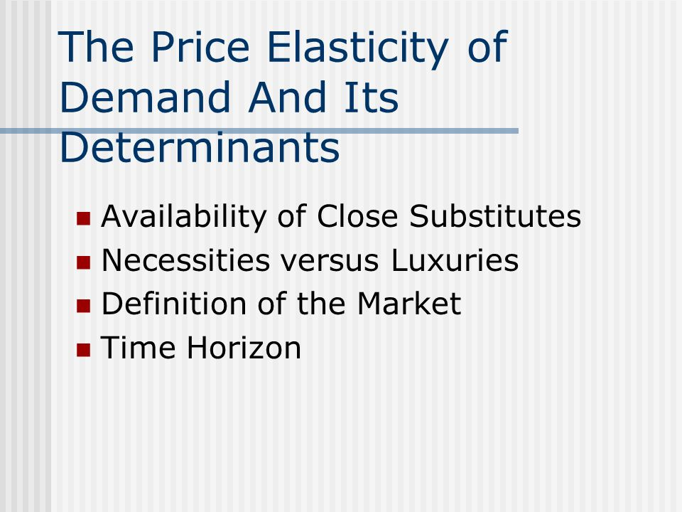 elasticity of demand and its factors For example, a small change in price of ac may affect its demand to a  considerable  elasticity of demand of a commodity is influenced by its nature.