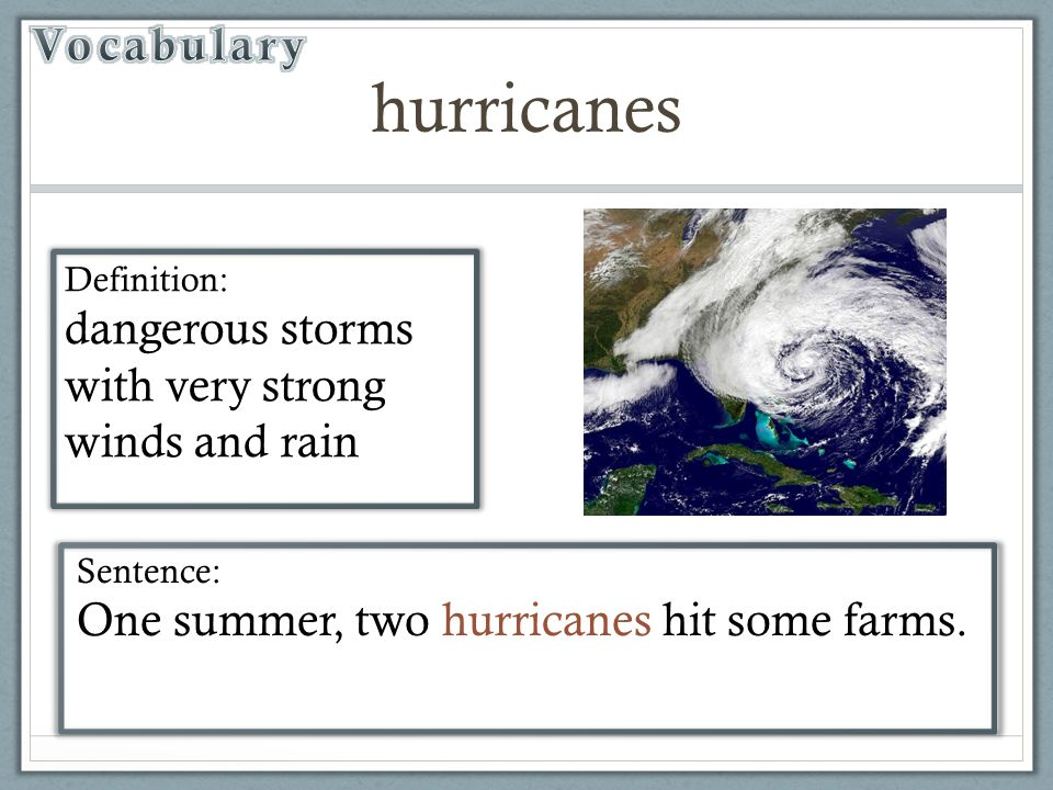 Hurricane vocabulary words and definitions