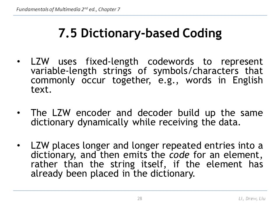 Chapter 7 lossless compression algorithms ppt video for Together dictionary