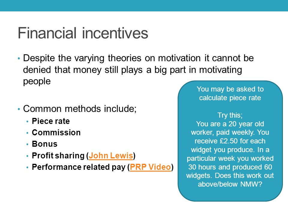 motivation and non financial incentives