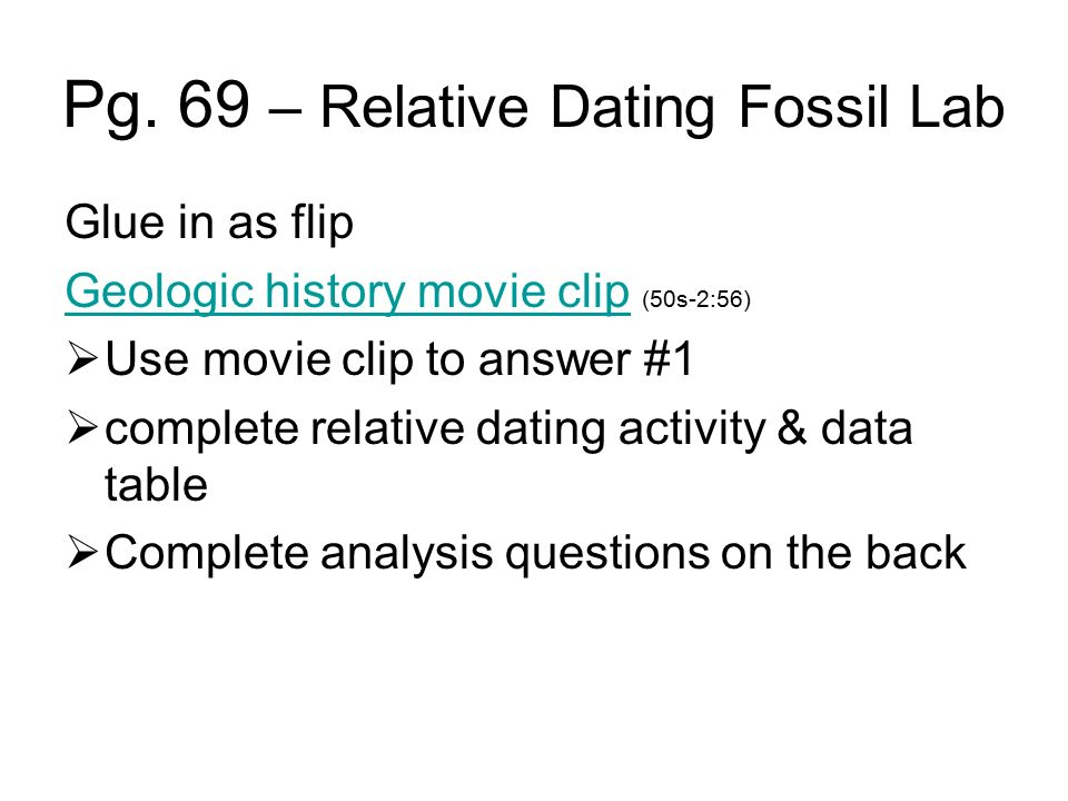relative dating lab activity