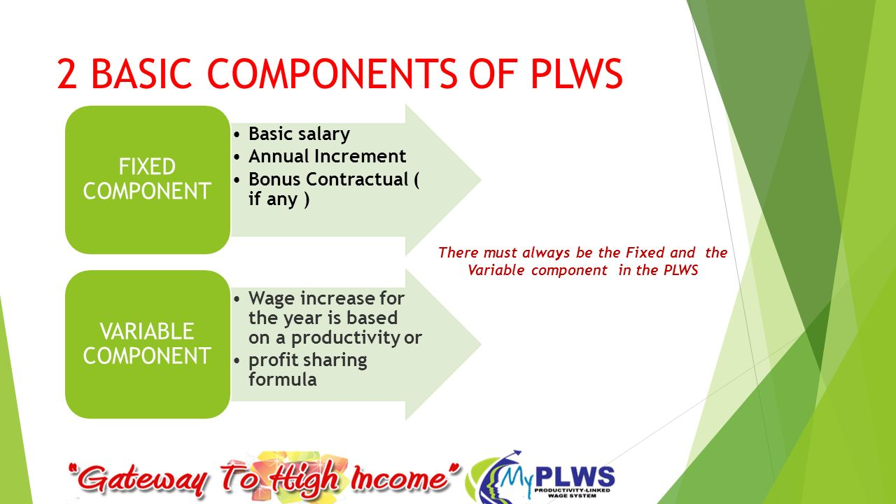 basic wage component of pay packet Home » resource centre » hr toolkit » compensation the plan might pay 100% of basic and 50% of performance management was one component that.