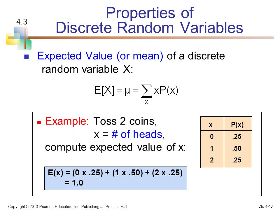 random variable and expected average return Expected value is the average value of a random variable over a large number of experiments a random variable maps numeric values to thus, since the coin is fair and the loss amount equals the gain amount, you are expected to neither gain nor lose money over time in such a game, while there is no.