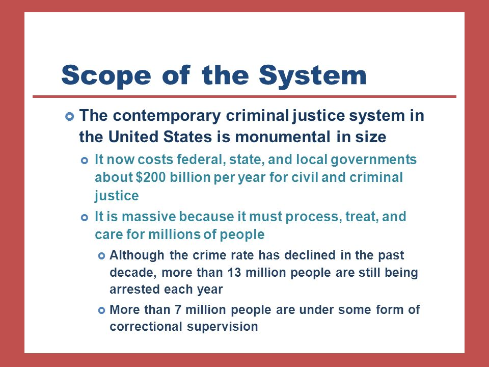 an analysis of the criminal justice system in united states Topic analysis resolved: rehabilitation ought to be valued above retribution in the united states criminal justice system i introduction.