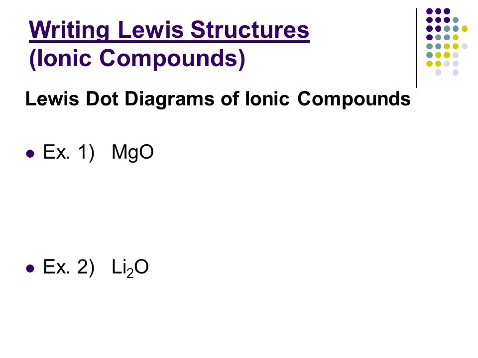 how to write an equation using lewis structures for ionic compounds