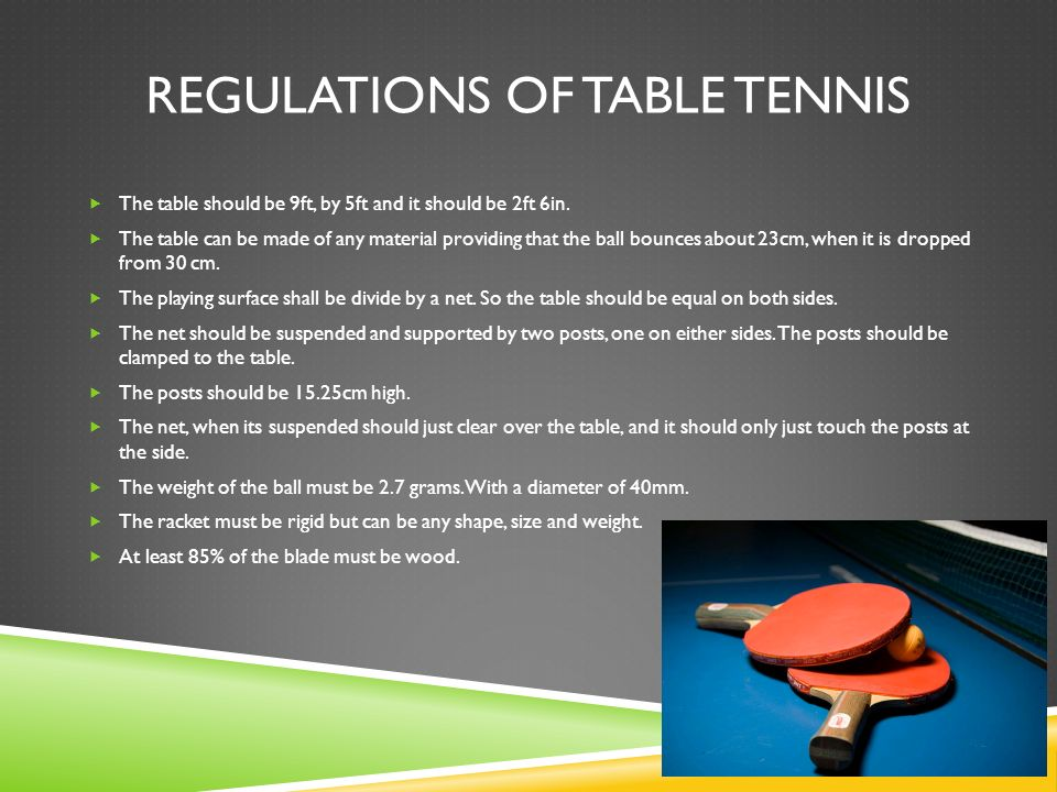 Rules and regulations of table tennis and badminton ppt for Regulation 85 table a