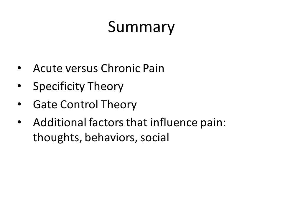 study of gate control theory and pain I thought i knew what pain meant until i got asked to define it that is when i realised my ignorance and surprisingly, i was not alone people.