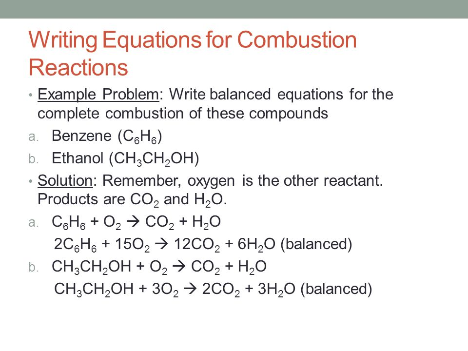 Write a balanced equation for the complete combustion of 2-methylbutane