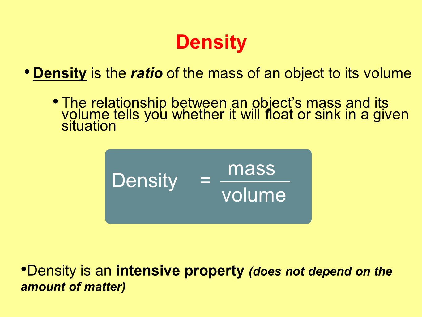 weight and density relationship