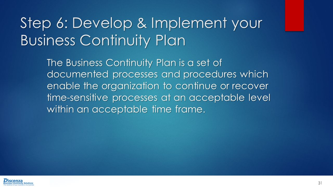 the process of implementing a disaster recovery plan in a business organization